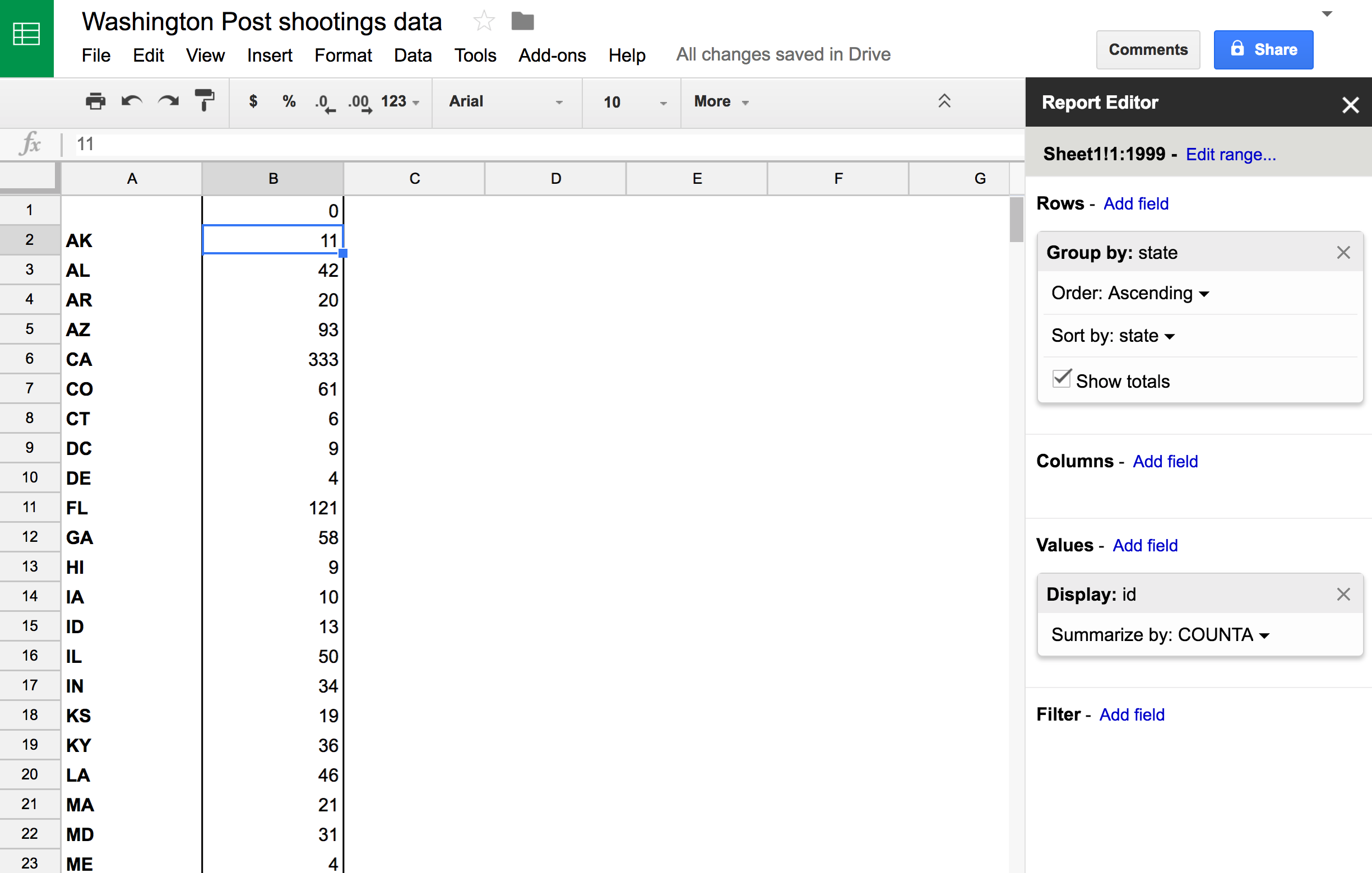 Working with data in google sheets data journalismvisualization report editor selection gamestrikefo Gallery